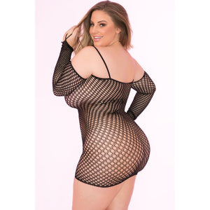 Pink Lipstick - Bad Intentions Fishnet Dress Costume Queen (Black)