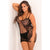 Rene Rofe - Lace And Net Strap Dress Costume Queen (Black)