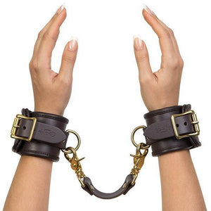 Coco de Mer - Leather Wrist Cuffs S/M (Brown) | CherryAffairs Singapore