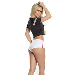 Coquette - Fashion Football Crop Top and Booty Shorts Costumes O/S (Black) Costumes 883124166520 CherryAffairs