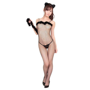 Day Dream - Kitten Open Stocking Set With Fur Costume (Black) - Zush.sg