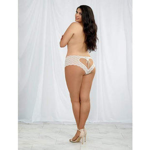Dreamgirl - Heart Stretch Lace Panty with Open Crotch 1X (White) Crotchless Panties 888368261727 CherryAffairs