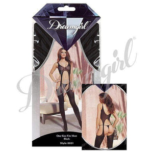 Dreamgirl - Sheer Suspender Tank Bodystocking O/S (Black) | CherryAffairs Singapore