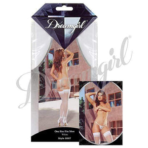 Dreamgirl - Sheer Thigh Highs with Back Seam O/S (White) | CherryAffairs Singapore