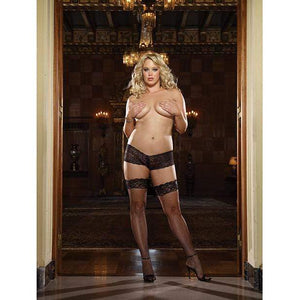 Dreamgirl - Stay Up Fishnet Thigh Highs with Back Seam Queen (Black) | Zush.sg