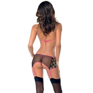 Escante - Tri Top Bra, GarterBelt, Panty & Thigh Highs Camouflage One Size (Green) | CherryAffairs Singapore