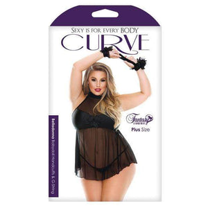 Fantasy Lingerie - Curve Plus Size Belladonna Mesh Babydoll with Handcuffs and G-String 1X/2X (Black) Costumes 811432018033 CherryAffairs