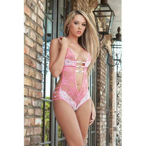 G World Intimates - Fully Laced Teddy w/Heart Charms Lingerie Set O/S (Pink) | Zush.sg