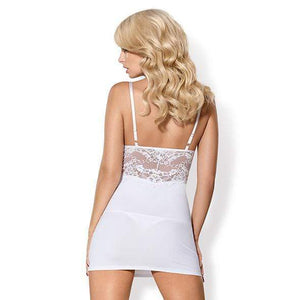 Obsessive - 810-Che-1 Chemise and Thong L/XL (White) - Zush.sg