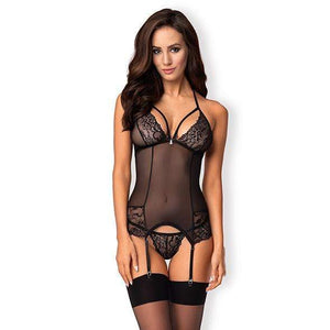 Obsessive - 838-Cor-1 Corset and Thong L/XL (Black) - Zush.sg