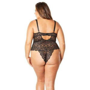 Oh la la cheri - Soft Edged Galloon Lace Teddy with Adjustable Straps and Snaps Crotch 1X (Black) Costumes 841143140112 CherryAffairs