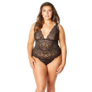Oh la la cheri - Soft Edged Galloon Lace Teddy with Adjustable Straps and Snaps Crotch 1X (Black) | Zush.sg