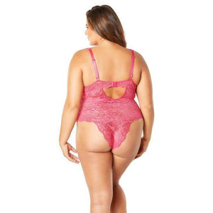 Oh la la cheri - Soft Edged Galloon Lace Teddy with Adjustable Straps and Snaps Crotch 1X (Pink) Costumes 841143140129 CherryAffairs