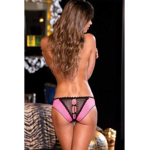 Rene Rofe - Crotchless Frills Panty with Back Bows S/M (Pink) Lingerie (Non Vibration)