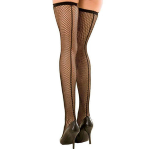 Rene Rofe - Fishnet Thigh High w/Backseam Stockings O/S (Black) Costumes