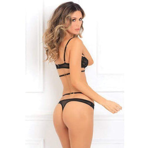 Rene Rofe - Hot Lust Strappy Bra and Panty Set M/L (Black) Lingerie (Non Vibration) 017036265211 CherryAffairs