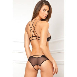 Rene Rofe - Lace Bra & Crotchless Panty Set Medium/Large (Black) Lingerie (Non Vibration) - CherryAffairs Singapore
