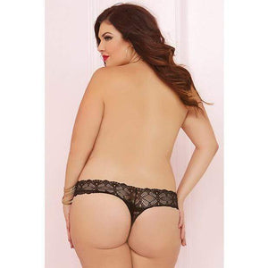 Seven til Midnight - Crochet Lace Split Crotch Thong Queen (Black) Crotchless Panties 888208138011 CherryAffairs