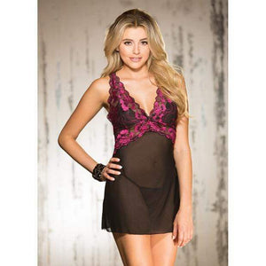 Shirley Of Hollywood - Two Tone Stretch Lace and Mesh Chemise with Lined Cups, Adjustable Straps and G String 1X (Black) - Zush.sg