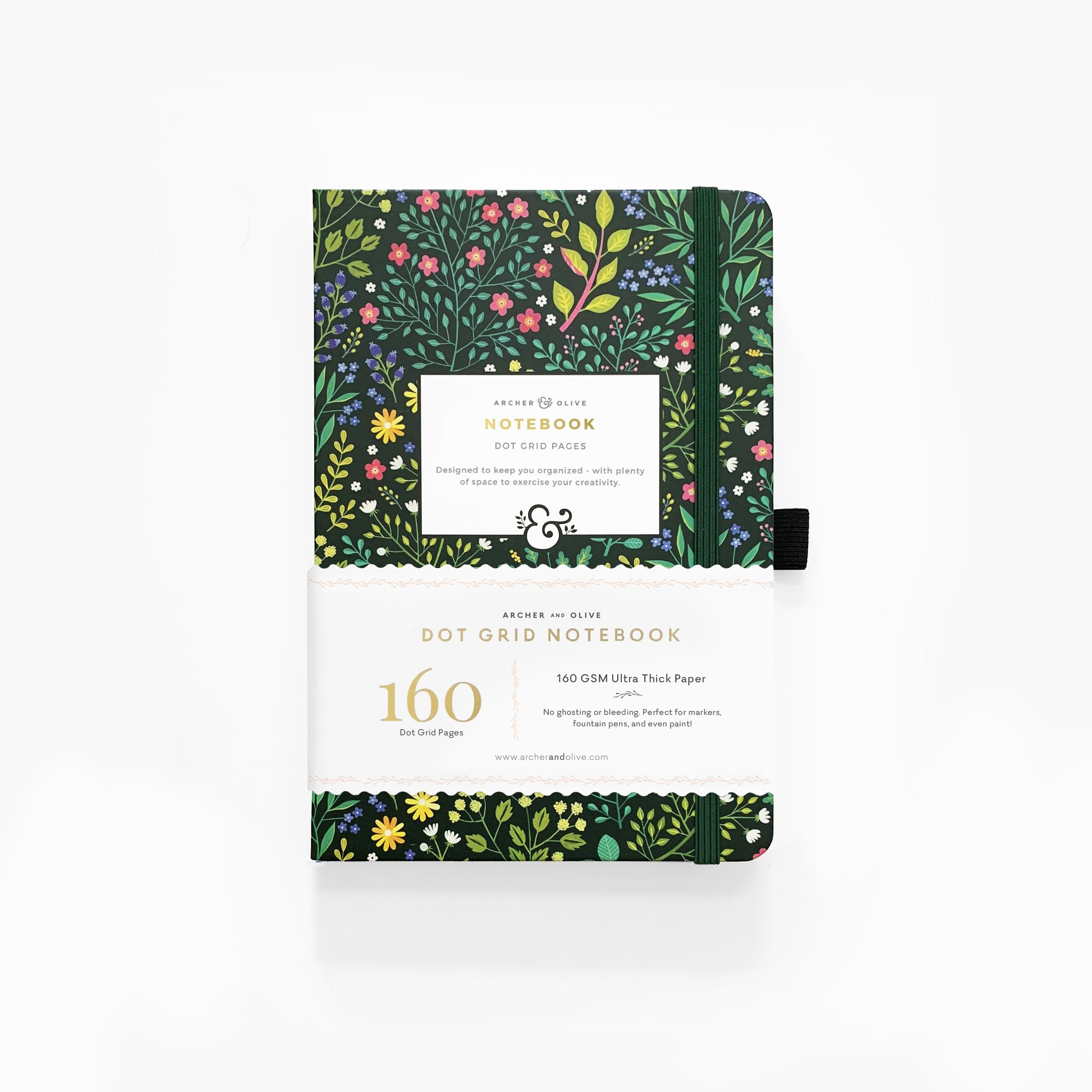 "Dot Grid Notebook ""Green Leaves"""