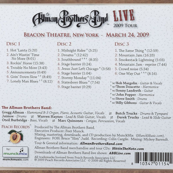The Allman Brothers 40th Beacon NYC March 24 2009 CD
