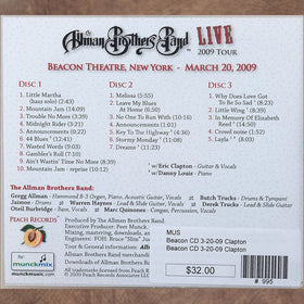 The Allman Brothers 40th Beacon NYC March 20 2009