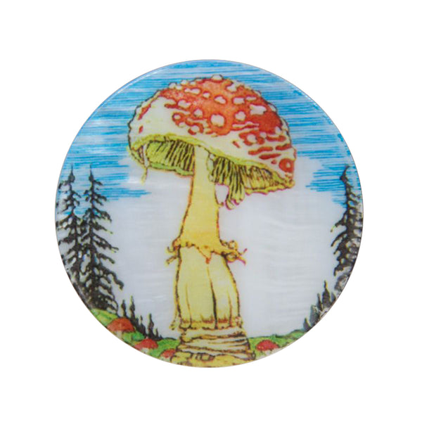 Magic Mushroom Mother Of Pearl Lapel Pin