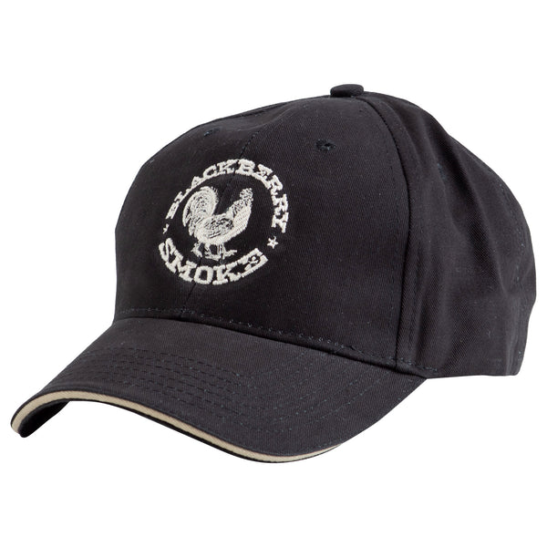 BLACK BALL HAT WITH SILVER EMBROIDERED ROOSTER