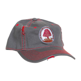 The Big House Hat Distressed Gray with Red Stitching (Mushroom)