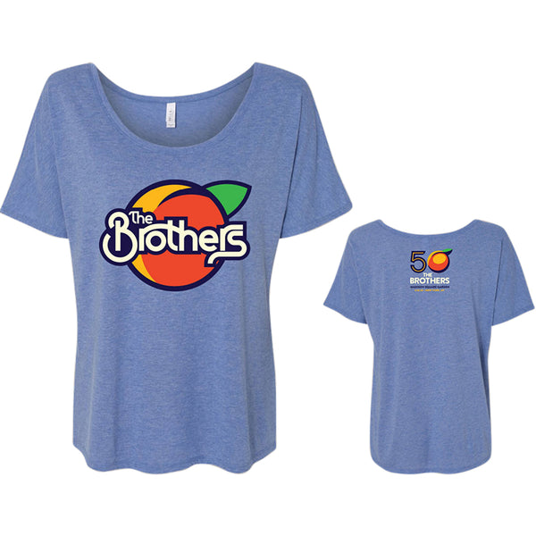 THE BROTHERS 50 Blue Flowy  Womens T-shirt