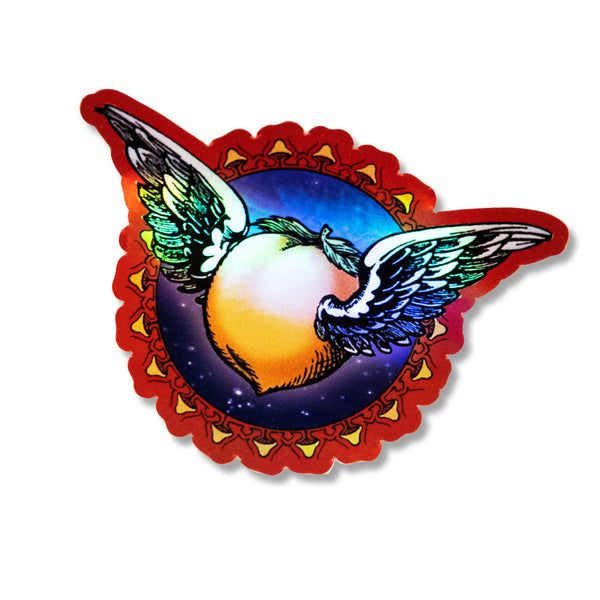 ALLMAN BROTHERS BAND WINGED PEACH HOLOGRAPHIC STICKER