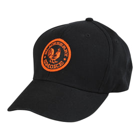 Baseball Hat with Orange Embroidered Rooster