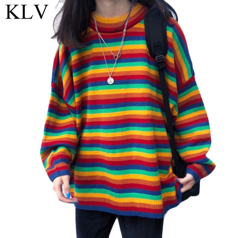 Women Teens Autumn Long Sleeve Knit Sweater Korean Harajuku Rainbow Stripes Patchwork Loose Jumper Hip Hop Pullover Tunic Tops