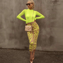 Load image into Gallery viewer, Ocstrade New Arrival 2020 Fashion Long Bandage Skirt Women Lime Zebra Print Bodycon Bandage Skirt Midi Club Party Skirt