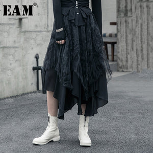 [EAM] High Elastic Waist Black Organza Split Asymmetrical Half-body Skirt Women Fashion Tide New Spring Autumn 2020 1R592
