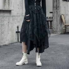 Load image into Gallery viewer, [EAM] High Elastic Waist Black Organza Split Asymmetrical Half-body Skirt Women Fashion Tide New Spring Autumn 2020 1R592