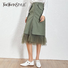 Load image into Gallery viewer, TWOTWINSTYLE Mesh Patchwork Skirts For Women High Waist Split Midi Skirt Female Large Size Spring 2020 Streetwear Fashion Tide