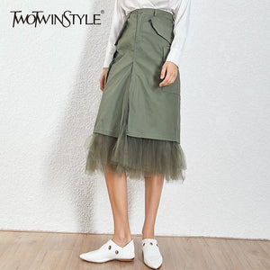 TWOTWINSTYLE Mesh Patchwork Skirts For Women High Waist Split Midi Skirt Female Large Size Spring 2020 Streetwear Fashion Tide