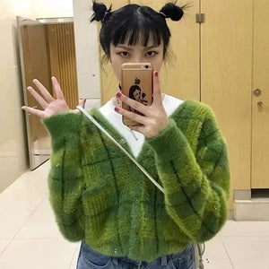 Harajuku Fuzzy Green Plaid Cardigan With Front Button Women Cropped Cardigan Sweater /