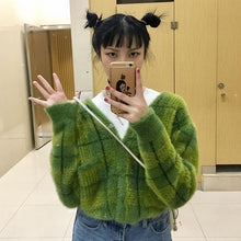 Load image into Gallery viewer, Harajuku Fuzzy Green Plaid Cardigan With Front Button Women Cropped Cardigan Sweater /