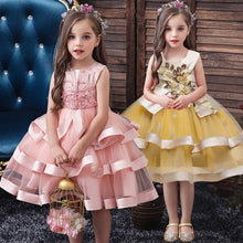 Load image into Gallery viewer, Flower Girl Princess Wedding Party Bead Banquet Peng Dress Girl Christmas Party Eucharist formal party dress vestidos de fiesta