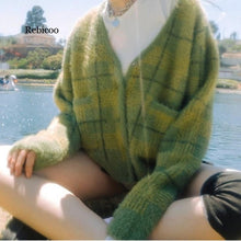 Load image into Gallery viewer, New Vintage Plaid Green Plush Knitted Cardigans V-Neck Loose Sweaters Autumn Winter Clothes Sweater Women