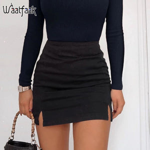 Waatfaak Solid Black Split A-line Skirt Ladies Casual 2020 High Street Mini Skirts Womens Sexy Summer Korean Style Short Skirt