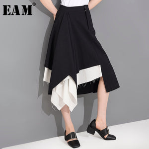 [EAM] High Waist Black White Irregular Burr Split Joint Half-body Skirt Women Fashion Tide New Spring Summer  2020 1T66601