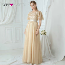 Load image into Gallery viewer, Robe De Soiree Sparkle Evening Dresses Long Ever Pretty EP00904GY A-Line O-Neck Short Sleeve Formal Dresses Women Elegant Gowns