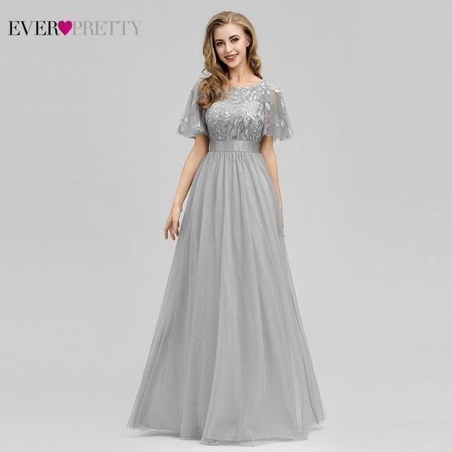 Robe De Soiree Sparkle Evening Dresses Long Ever Pretty EP00904GY A-Line O-Neck Short Sleeve Formal Dresses Women Elegant Gowns