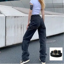 Load image into Gallery viewer, 2020 New Smoke Grey  Bf Retro Casual High Waist Wide Legs Ins Straight Barrel Baggy Jeans Woman