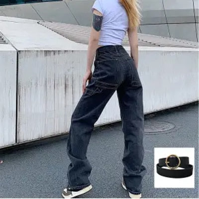 2020 New Smoke Grey  Bf Retro Casual High Waist Wide Legs Ins Straight Barrel Baggy Jeans Woman