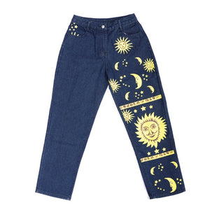 Fashion Sun Star Print Pants Women Female Spring Summer women's Jeans Trousers Girls Denim Chic High waist Cool Pant jeans women