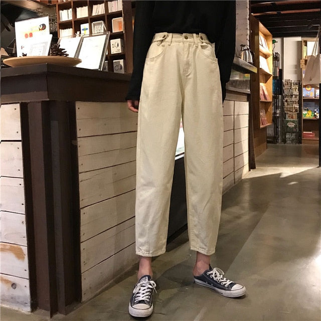 Jeans Womens Plus Size Solid High Waist Ulzzang Harajuku Korean Style Vintage Fashionable Females Trousers Pockets Simple Chic